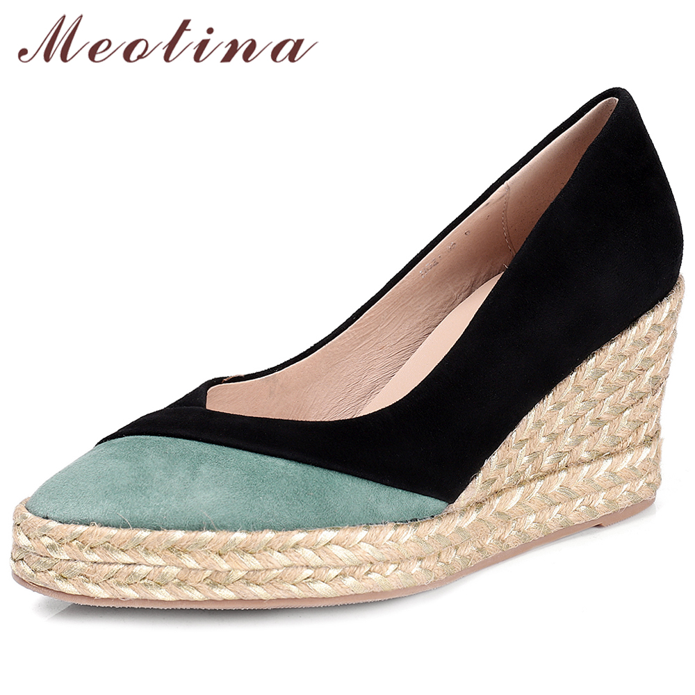 Meotina Women Shoes High Heels Genuine Leather Platform Wedge Heels Shoes Kid Suede Mixed Colors Pointed Toe Pumps Ladies 34-39Meotina Women Shoes High Heels Genuine Leather Platform Wedge Heels Shoes Kid Suede Mixed Colors Pointed Toe Pumps Ladies 34-39