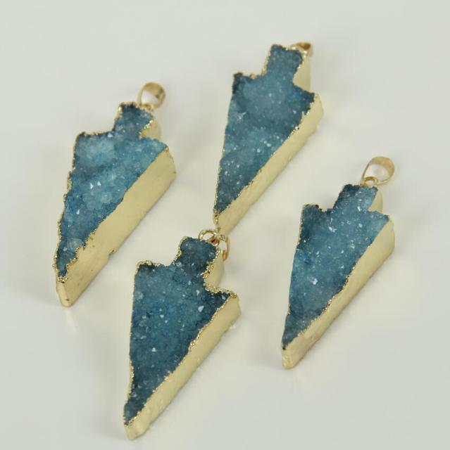 5pcs wholesale women druzy pendants lovely dyed blue color geode 5pcs wholesale women druzy pendants lovely dyed blue color geode drusy pendant with plated gold edged mozeypictures Gallery