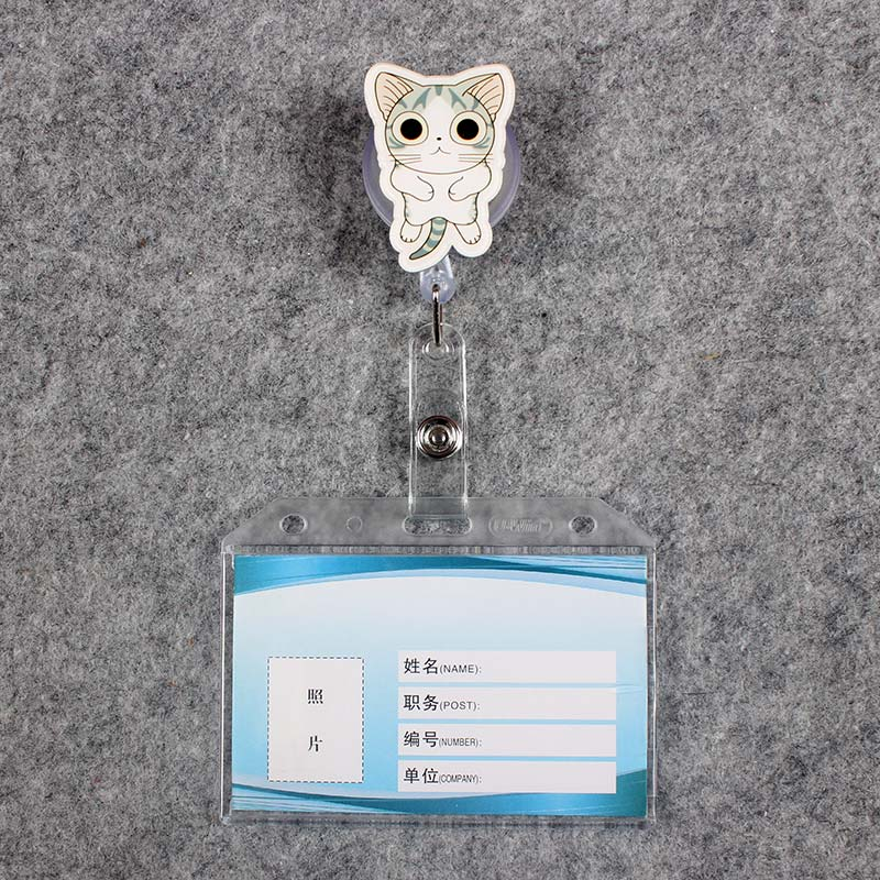 Grey Cat Women Men Badge Scroll Nurse Reel PVC Character Scalable Colors School Girls Exhibition ID Plastic Doctor Card Holder in Badge Holder Accessories from Office School Supplies