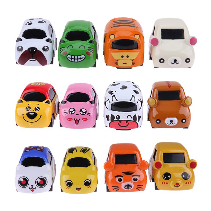 4pcs/set Mini Cartoon Alloy Car Model Kids Cute Metal Vehicle Car Toy Children Educational Learning Toy for Birthday Gifts
