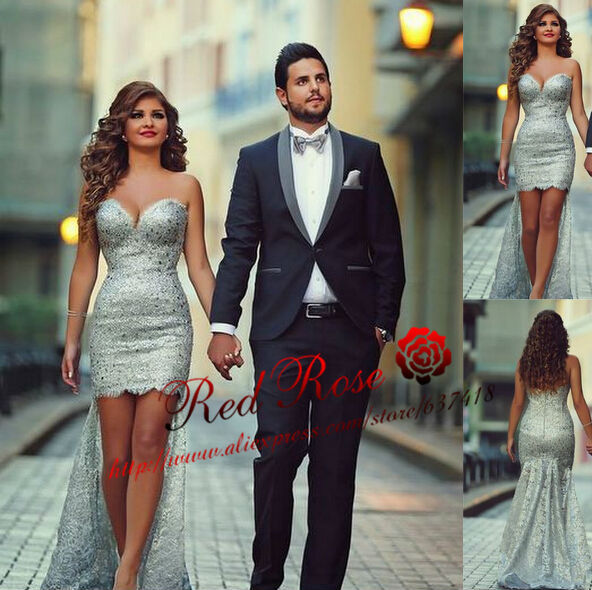c300889fc19 Summer Western Country High Low Prom Dresses 2015 Silver Sexy Short Lace  Prom Dresses Vestido Formatura