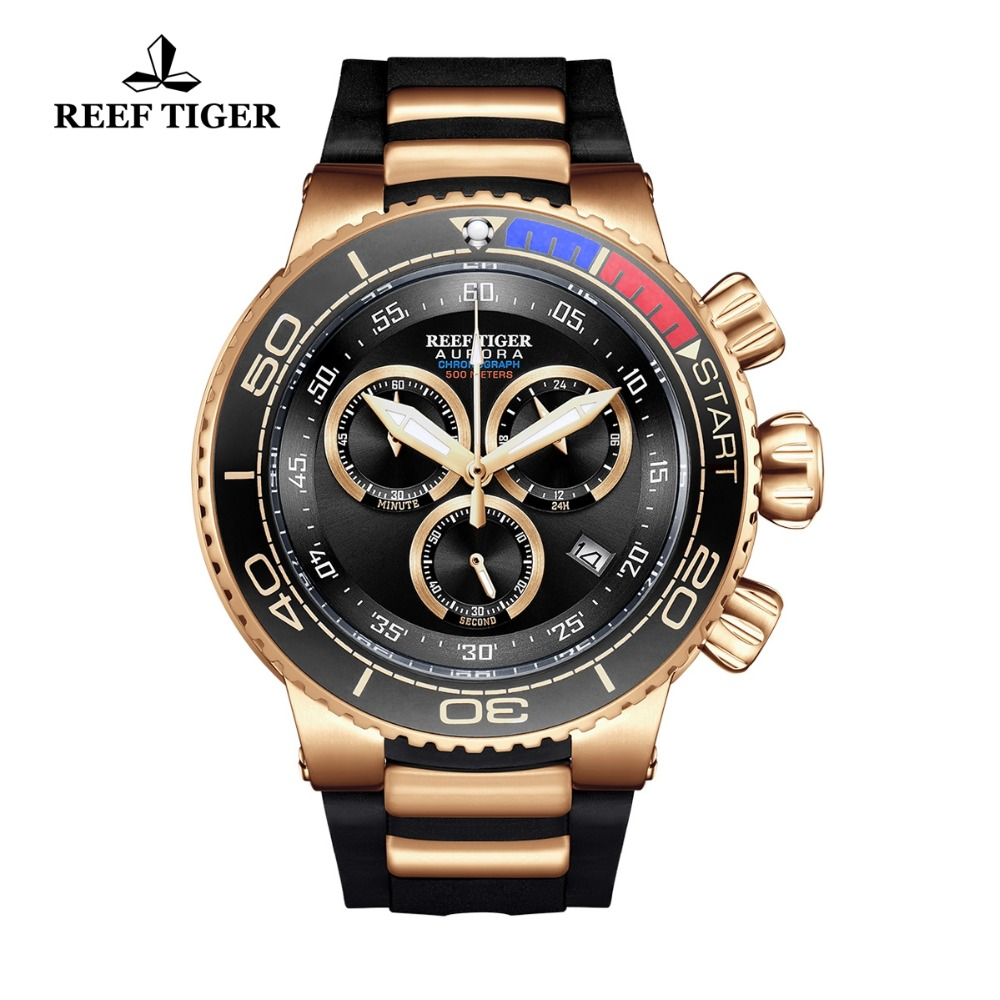 Reef Tiger/RT Top Men Luxury Sport Watches Men Sports Rubber Strap Rose Gold Waterproof Analog Quartz Watch Relogio Masculino reef tiger rt top brand luxury automatic watches men sports calendar waterproof genuine leather strap watch relogio masculino