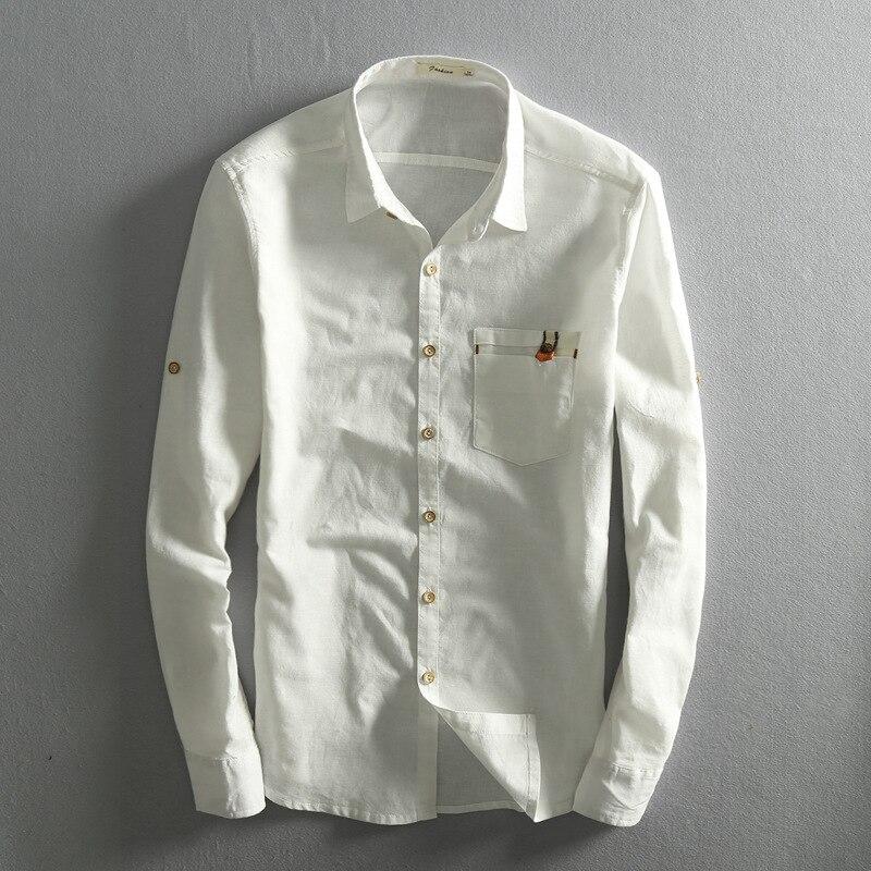 Mens Cotton Linen Shirts Long Sleeve Solid Turn Dow Collar Cotton Shirts Solid Slim Casual Shirt Men Dress Shirts Clothes TS-311
