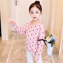 цена Children Clothing 2019 Spring Autumn Girls T Shirts Kids Clothes Long Sleeve Dot T-shirt Tops 3 4 5 6 7 8 9 10 Years Girl Shirts онлайн в 2017 году