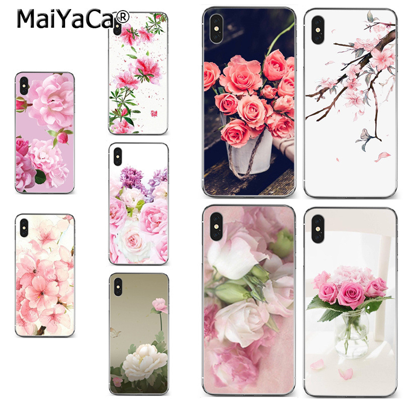 MaiYaCa Flowers Pink Rose Peony 2018 Colored Drawing soft tpu phone Case for iPhone X XS MAX 5 6SPLUS 7 8plus case Coque funda