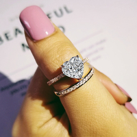 original 925 Sterling Silver rose gold color heart shape Wedding Ring Set for Bridal bride Women Finger Gift Jewelry LR4956S