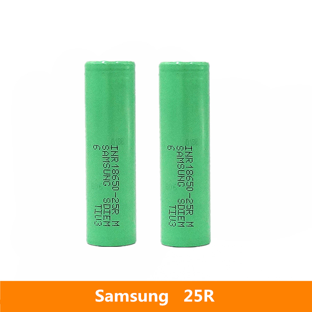 2 pcs <font><b>3.7V</b></font> 18650 <font><b>2500mah</b></font> 20A discharge For Samsung INR18650-25R li-ion power cell IMR <font><b>battery</b></font> for Toy E-cig Torch Flashlight ect image