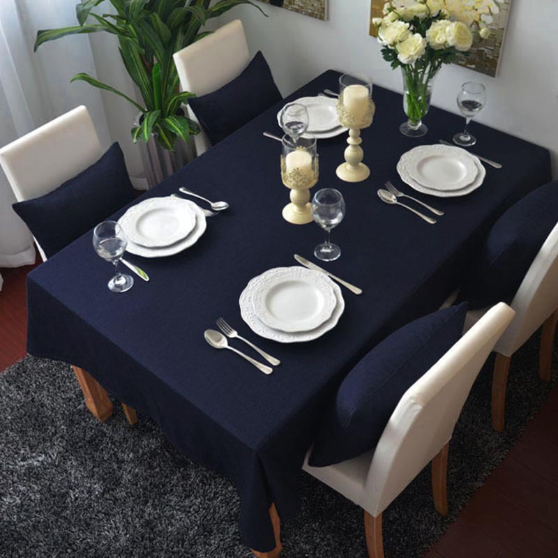 Cotton Solid Color Table Cloth Rectangle Tablecloth For ...