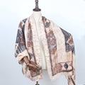 Полосатые пончо зима пашмины шали и шарфы шерсти женщин коричневый плед шарф женский плащ кисточкой цены в евро echarpes