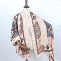 Rayas poncho invierno pashmina chales y bufandas de lana de las mujeres marrón manta echarpes bufanda del cabo femenino de la borla de los precios en euros