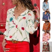 S-3XL autumn spring chiffon tops shirt floral print casual leisure shirt women long sleeve shirts plus size
