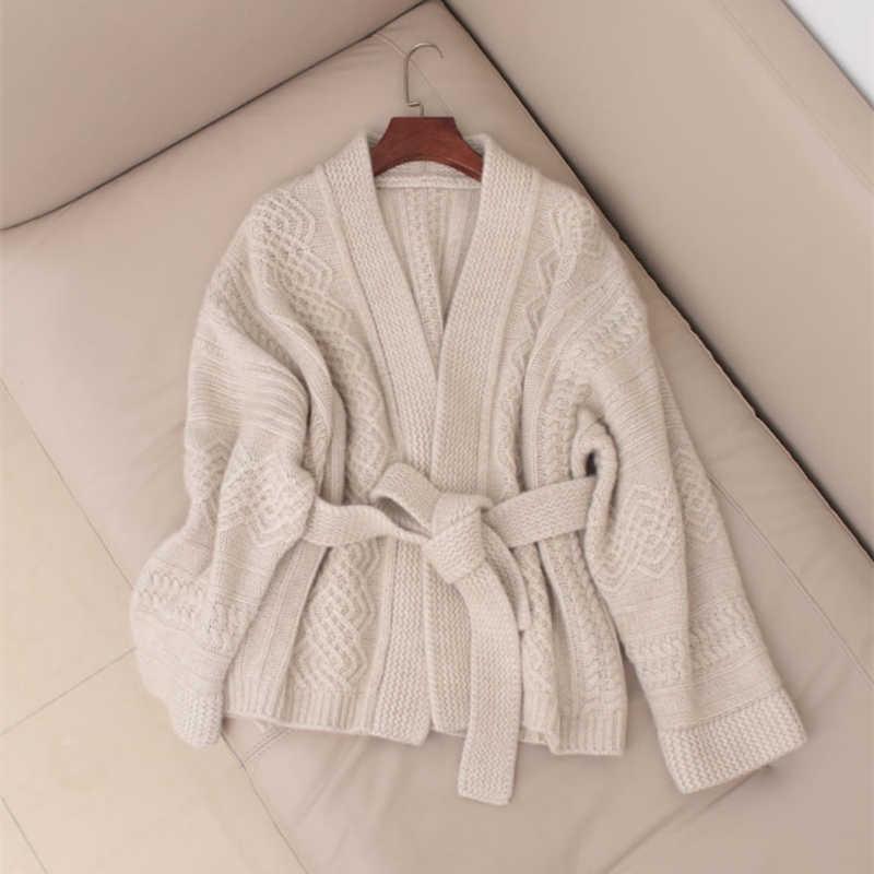 여성 캐시미어 카디건 2019 새로운 도착 가을 겨울 v-목 벨트 카디건 스웨터 짙어지면서 여성 느슨한 하이 엔드 재킷 코트