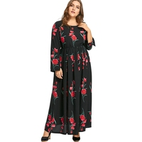 Vintage Plus Size Tulip Floral Dress Women Boho Maxi Dress Chiffon Causal Beach Dress Big Size