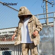 Chinism CN PLA камуфляжная куртка в стиле милитари с капюшоном Тренч Для мужчин камуфляж свободные длинные Куртки Для мужчин Стильный тактическая куртка