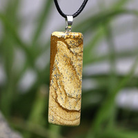 Wholesale Men Natural Stone Necklace Picture Jasper Pendant Leather With Chain Gemstones Gift For Courage Wisdom