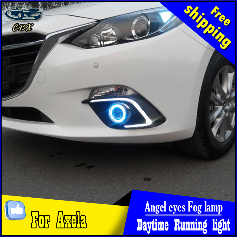 CDX car styling angel eyes fog light  for Mazda axela 2014-2016 year LED turn signal yellow DRL+LED Angel eyes for fog lamp купить
