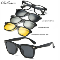 Bellcaca Spectacle Frame Men Women Eyeglasses With 3 PCS Polarized 3D Sunglasses Clip On Optical Clear Glasses For Male BC329