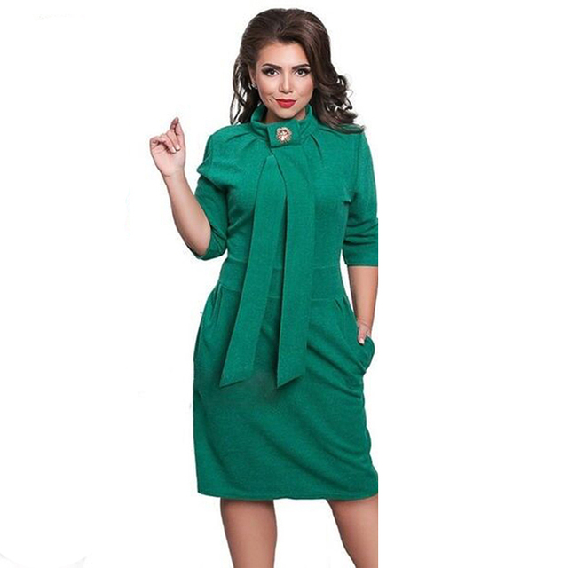2017 nuevo diseñador dress plus size vestidos felame ladies cuello alto longitud de la rodilla de gran tamaño 6xl longitud de la rodilla atractiva dress party