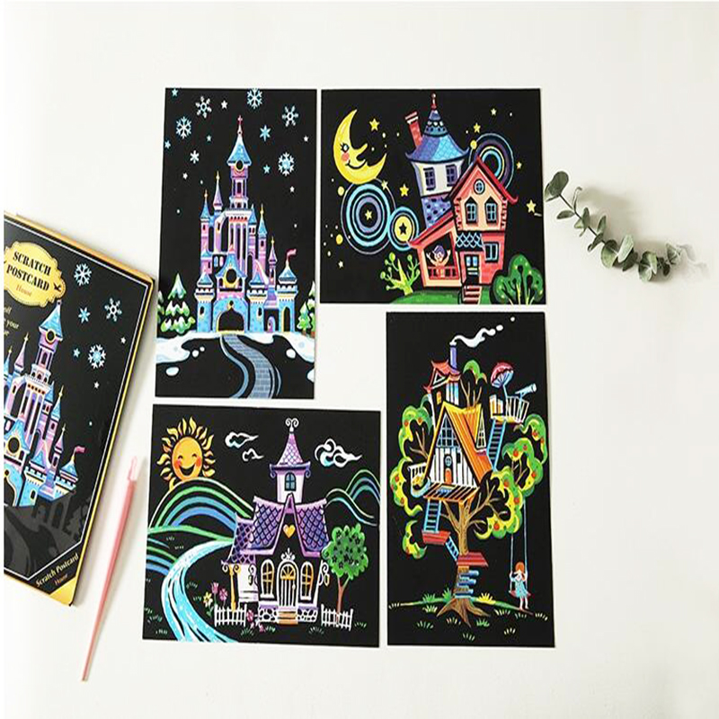 14 20 Children 4pcs Scratch Painting Postcard Pictures Kid Scraping Picture DIY Postcards Craft to Classmate