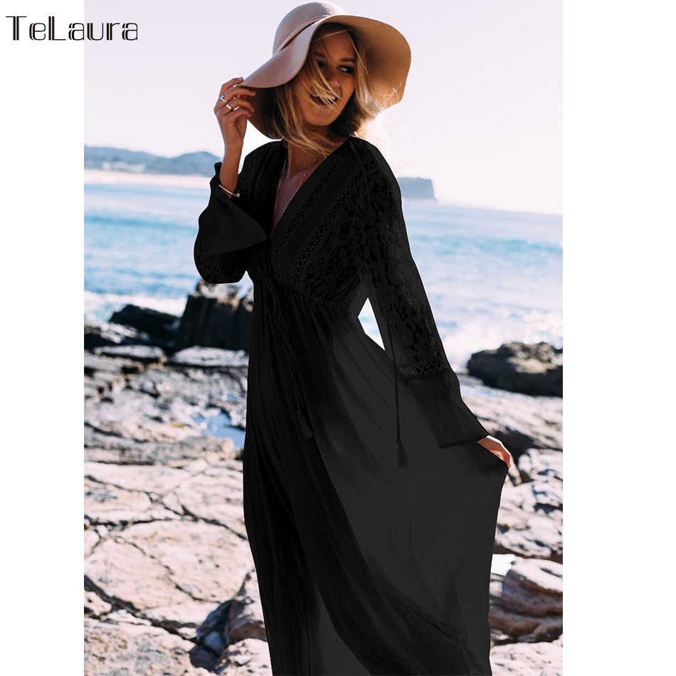 2019 Pantai Seksi Menutupi Baju Renang Putih V Leher Hollow Out Beach Gaun Panjang Wanita Bikini Pakaian Renang Baju Renang Musim Panas beach Tunik
