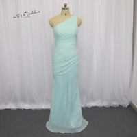 Vestidos De Fiesta Largos Mint Green Bridesmaid Dresses 2015 One Shoulder Chiffon Pleat Long Party Dress