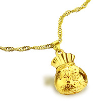 new fashion women real gold plated necklace.Vintage purse pendant.Necklace 24 k plating does not change color. jewelry
