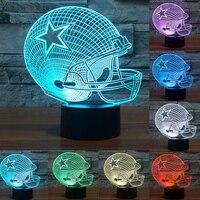 NFL Dallas Cowboys Helmet 3D LED Night Light 7 Colors Change Acrylic USB LED Table Lamp