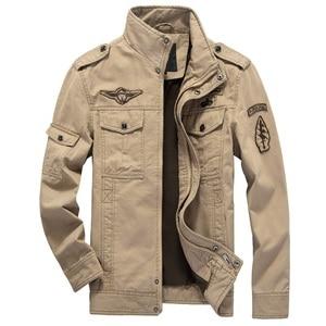 Image 3 - HANQIU 브랜드 M 6XL 폭격기 재킷 남자 군사 의류 2020 봄 가을 남성 코트 솔리드 느슨한 육군 군사 재킷