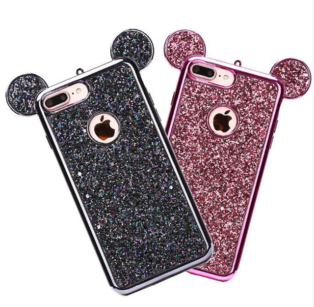 3D Minnie Mickey Mouse Ears Bling Paillettes Soft TPU Phone Shell Cover for Iphone 6 6splus 7 8plus x Samsung S7 S8 S8 plus