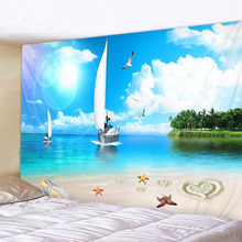 Beach Sailing Psychedelic Tapestry Boho Mandala Wall Hanging Royal Blue 3D Hippie Wall Tapestry Home Decor Mint Yoga Mat