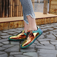 SWONCO Women Sneakers Shinny Bling Size 40 41 Black hole Color Female PU Leather Sneakers For Woman Golden Sneaker Casual Woman