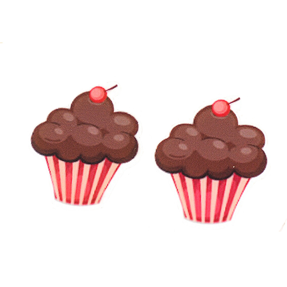 Flatback Cartoon Cabochon Chocolate Cupcake Planar Resin DIY Little Kids Girls Hair Bow Craft Accessories