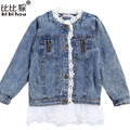 Girls fashion lace long-sleeved jackets denim jacket girls coat children overall Children's cloth autumn princess baby cardigan