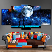 Rick and Morty HD Spray Wall Pictures Home Living Decoration 5 Panes Modern Painting on Sales Free Shipping