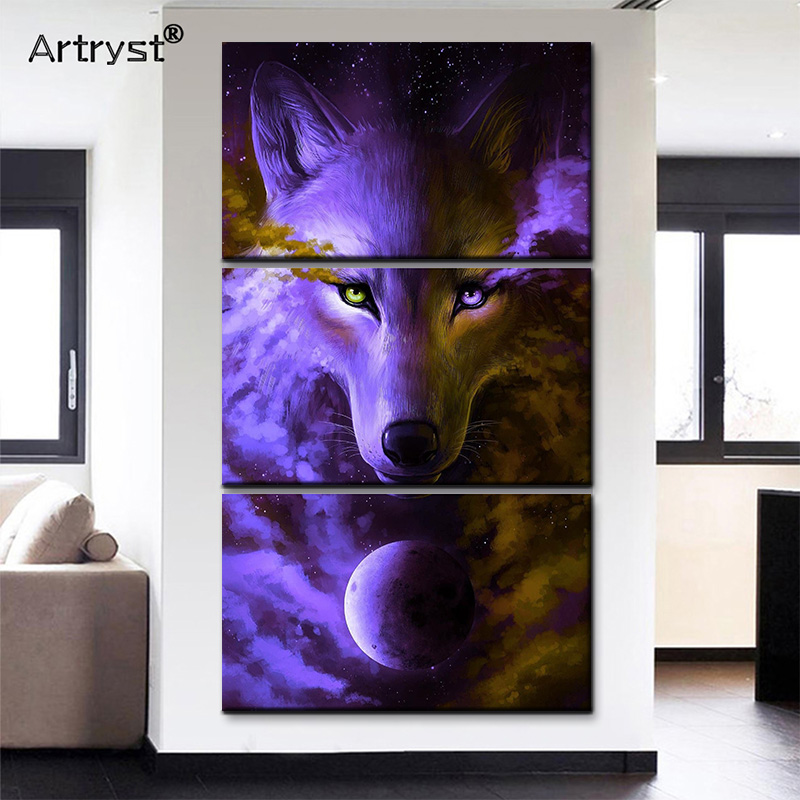 Mo'de'r'n 3 Panel Blue Wolf Planet Canvas Painting With Frame HD Printed Modular Animal Poster Wall Art Picture For Living Room