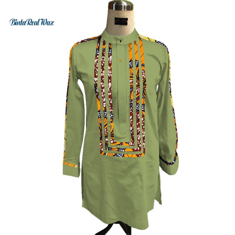 0710438ba6 Custom Mens African Shirt Clothing Bazin Riche Patchwork Print Top Robe 100%  Cotton Dashiki Traditional African Clothing WYN91-in Africa Clothing from  ...