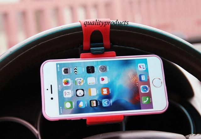 NUEVO universal del volante del coche zócalo del sostenedor del soporte soporte de montaje soporte para teléfono móvil sostenedor del coche de los GPS de rack de caballete clip flexible