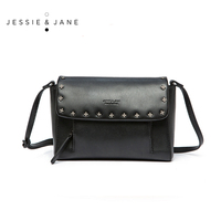JESSIE JANE Brand New Women Luxury Split Leather Handbags Rivet Decoration Lady Shoulder Bags Cotton Lining