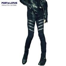 Порт и лотоса мода свободного покроя джинсы новое поступление с молнией летать сплошной цвет Midweight карандаш брюки уменьшают подходящие джинсы мужчин 085 оптовая продажа