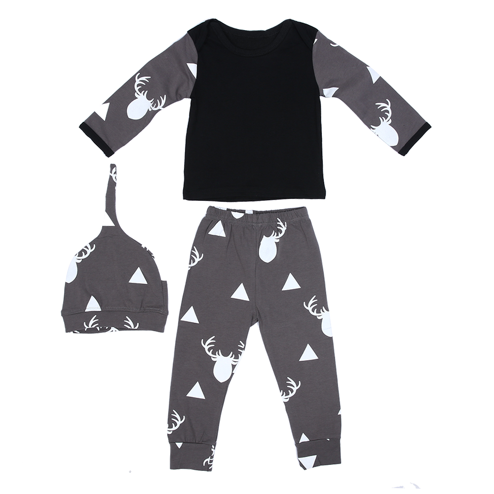 Baby Clothes New Design Full Sleeve O-Neck Reindeer Printed Clothing Set Newborn Baby Boy Girl Christmas Clothes