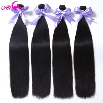 Ali Coco Brazilian Straight Hair 4 Bundles 100% Human Hair Bundles 8-28 inch Brazilian Hair Weave Bundles Non-Remy Extensions