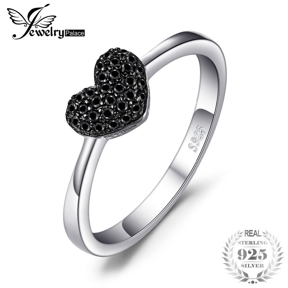 JewelryPalace Fashion 0.14ct Natural Black Spinel Kjærlighet Heart Rings For Women 100% 925 Sterling Sølv Bryllupsgaver Fine Smykker