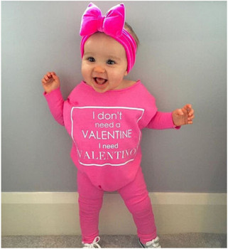 VALENTINE Casual Rompers Letter Printed Loose Baby Girls Pink Clothing Wear Cotton Toddler Infant Newborn Baby Outfits rose