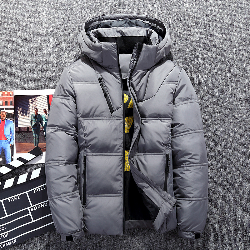 Hot Sale 2018 Winter Men White Duck Down Jacket High Quality Casual Windproof Warm Jackets And Coats Slim Fit Gray Parkas