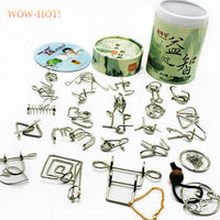 24 PCS Set IQ Metal Wire Puzzle For Children Adults Creative Brain Teaser Puzzles Game Educational