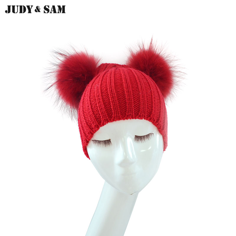 Fall-Winter Head Warm Children Hats fitted 2 Raccoon Fur Pompoms Cute Wool Knitted   Skullies     Beanies   Caps for Children