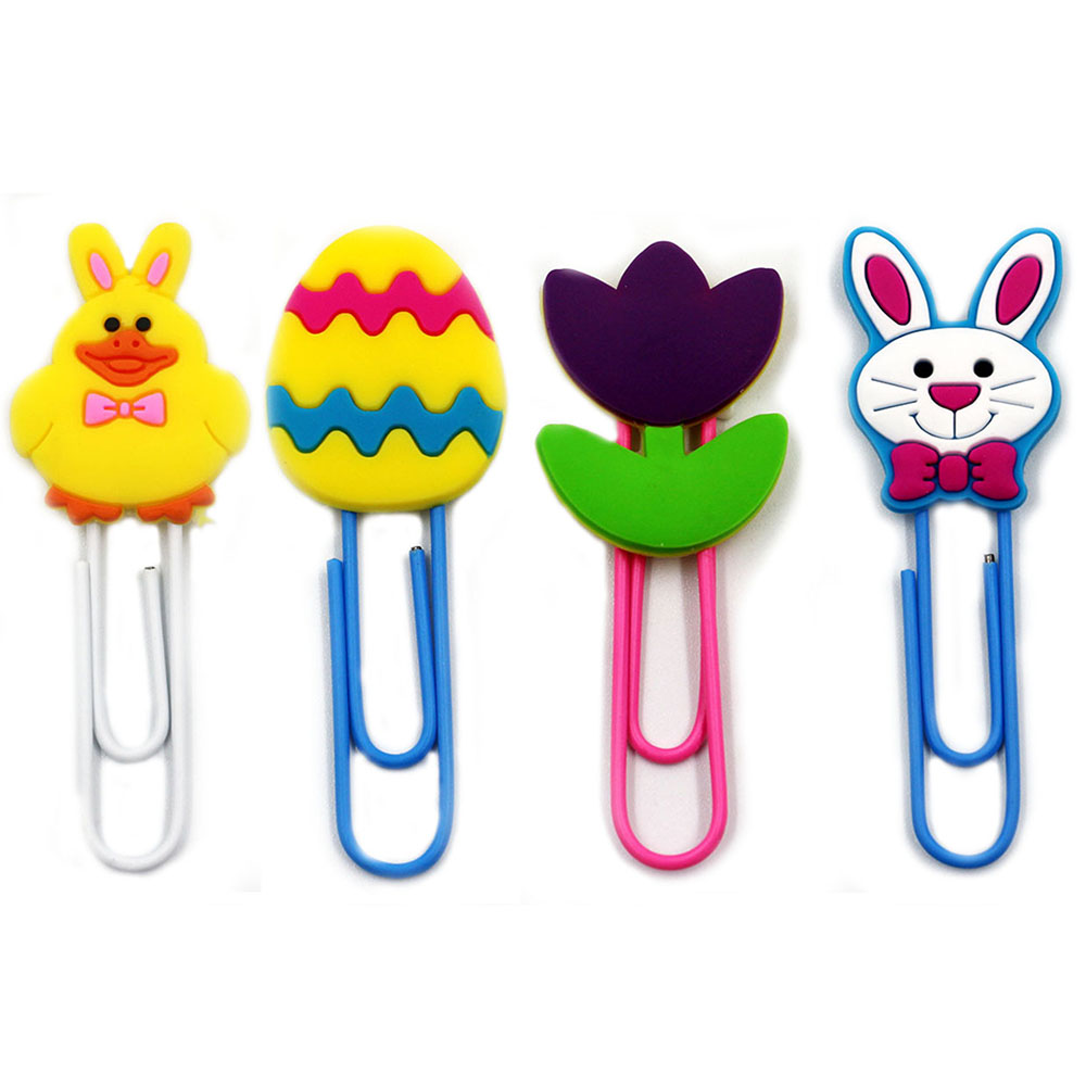 4x Easter Rabbit Soft PVC Head Paper Clip Bookmarks Student Stationery School Office Supply
