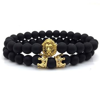 2pcs/set Crown Lion Bracelet Men 2018 New Fashion Couple Stone Bead Charm Bracelet For Men Women Jewelry Accessories