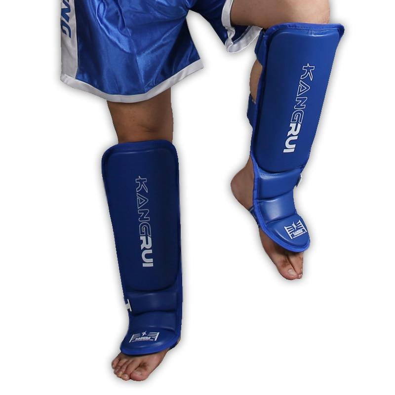 Prix pour Gros PU en cuir adulte enfants Muay thai kick boxing MMA grappling protège-tibias tapis de Karaté pied Protecteur tige jambe protecteurs