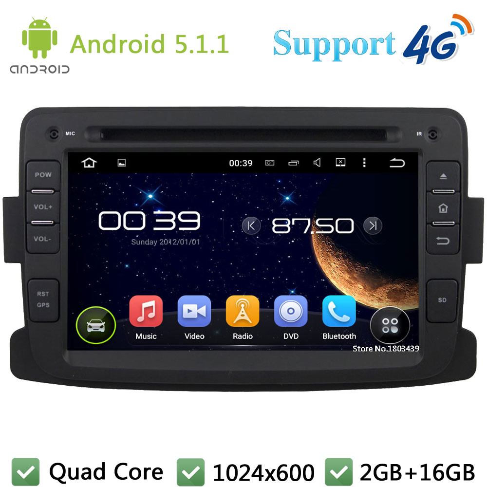 "Quad Core 7"" 1024*600 2Din Android 5.1.1 Car DVD Multimedia Player Radio FM DAB+ 3G/4G WIFI GPS Map For Renault Duster 2012 2013"